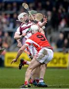 25 February 2017; Brian Cassidy of Slaughtneil in action against Darragh Connell, 9, and Simon Timlin of Cuala during the AIB GAA Hurling All-Ireland Senior Club Championship Semi-Final match between Cuala and Slaughtneil at the Athletic Grounds in Armagh. Photo by Eóin Noonan/Sportsfile