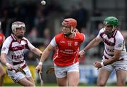 25 February 2017; David Tracey of Cuala in action against Conor McAllister, left, and Sean Cassidy, right, of Slaughtneil during the AIB GAA Hurling All-Ireland Senior Club Championship Semi-Final match between Cuala and Slaughtneil at the Athletic Grounds in Armagh. Photo by Eóin Noonan/Sportsfile