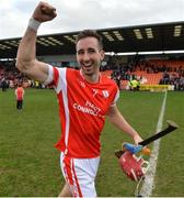 25 February 2017; John Sheanon of Cuala  celebrates after the AIB GAA Hurling All-Ireland Senior Club Championship Semi-Final match between Cuala and Slaughtneil at the Athletic Grounds in Armagh. Photo by Oliver McVeigh/Sportsfile
