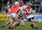 25 February 2017; Brian Cassidy of Slaughtneil in action against Darragh Connell, left and Simon Timlin, right, of Cuala during the AIB GAA Hurling All-Ireland Senior Club Championship Semi-Final match between Cuala and Slaughtneil at the Athletic Grounds in Armagh. Photo by Eóin Noonan/Sportsfile