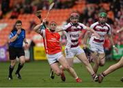 25 February 2017; David Treacy of Cuala  in action against Eanna Cassidy of Slaughtneil during the AIB GAA Hurling All-Ireland Senior Club Championship Semi-Final match between Cuala and Slaughtneil at the Athletic Grounds in Armagh. Photo by Oliver McVeigh/Sportsfile