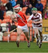 25 February 2017; Con O'Callaghan of Cuala  in action against Paul McNeill of Slaughtneil  during the AIB GAA Hurling All-Ireland Senior Club Championship Semi-Final match between Cuala and Slaughtneil at the Athletic Grounds in Armagh. Photo by Oliver McVeigh/Sportsfile