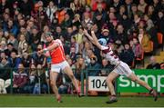 25 February 2017; Mark Schutte of Cuala in action against Shane McGuigan of Slaughtneil during the AIB GAA Hurling All-Ireland Senior Club Championship Semi-Final match between Cuala and Slaughtneil at the Athletic Grounds in Armagh. Photo by Oliver McVeigh/Sportsfile