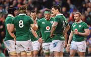25 February 2017; CJ Stander, centre, and Ireland team mates stand dejected following France's first try which was subsequently disallowed by referee Nigel Owens during the RBS Six Nations Rugby Championship game between Ireland and France at the Aviva Stadium in Lansdowne Road, Dublin. Photo by Ramsey Cardy/Sportsfile