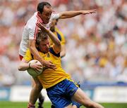30 July 2011; Peter Domican, Roscommon, in action against Brian Dooher, Tyrone. GAA Football All-Ireland Senior Championship Qualifier, Round 4, Roscommon v Tyrone, Croke Park, Dublin. Picture credit: Oliver McVeigh / SPORTSFILE