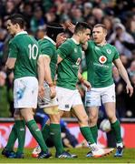 25 February 2017; Conor Murray of Ireland is congratulated by team mates Sean O'Brien and Keith Earls after scoring his side's first try during the RBS Six Nations Rugby Championship game between Ireland and France at the Aviva Stadium in Lansdowne Road, Dublin. Photo by Brendan Moran/Sportsfile