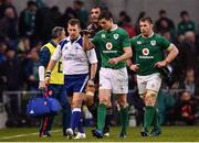 25 February 2017; Jonathan Sexton of Ireland in conversation with referee Nigel Owens during the RBS Six Nations Rugby Championship game between Ireland and France at the Aviva Stadium in Lansdowne Road, Dublin. Photo by Ramsey Cardy/Sportsfile