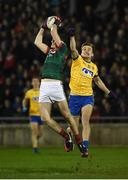 25 February 2017; Diarmuid O'Connor of Mayo in action against Enda Smith of Roscommon during the Allianz Football League Division 1 Round 3 match between Mayo and Roscommon at Elverys MacHale Park in Castlebar, Co Mayo. Photo by Seb Daly/Sportsfile