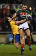 25 February 2017; Jason Gibbons of Mayo in action against David Murray of Roscommon during the Allianz Football League Division 1 Round 3 match between Mayo and Roscommon at Elverys MacHale Park in Castlebar, Co Mayo. Photo by Seb Daly/Sportsfile