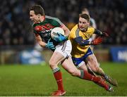 25 February 2017; Andy Moran of Mayo in action against Niall McInerney of Roscommon during the Allianz Football League Division 1 Round 3 match between Mayo and Roscommon at Elverys MacHale Park in Castlebar, Co Mayo. Photo by Seb Daly/Sportsfile