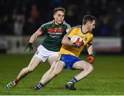 25 February 2017; Ciaráin Murtagh of Roscommon in action against Paddy Durcan of Mayo during the Allianz Football League Division 1 Round 3 match between Mayo and Roscommon at Elverys MacHale Park in Castlebar, Co Mayo. Photo by Seb Daly/Sportsfile