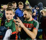 25 February 2017; Jason Gibbons of Mayo signs a supporters shirt following his side's victory during the Allianz Football League Division 1 Round 3 match between Mayo and Roscommon at Elverys MacHale Park in Castlebar, Co Mayo. Photo by Seb Daly/Sportsfile