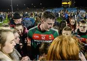25 February 2017; Diarmuid O'Connor of Mayo with supporters following his side's victory during the Allianz Football League Division 1 Round 3 match between Mayo and Roscommon at Elverys MacHale Park in Castlebar, Co Mayo. Photo by Seb Daly/Sportsfile