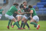 26 February 2017; Shannon Izar of France is tackled by Lindsay Peat, left, Claire McLaughlin, behind, and Kim Flood of Ireland during the RBS Women's Six Nations Rugby Championship match between Ireland and France at Donnybrook Stadium in Donnybrook, Dublin. Photo by Sam Barnes/Sportsfile