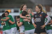 26 February 2017;  Ireland players including Sophie Spence, Marie Louise Reilly and Lindsay Peat celebrate following the RBS Women's Six Nations Rugby Championship match between Ireland and France at Donnybrook Stadium in Donnybrook, Dublin. Photo by Sam Barnes/Sportsfile