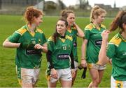 26 February 2017; Kerry players including Louise Ni Mhuircheartaigh, left, and Sarah Houlihan leave the pitch after victory over Monaghan in the Lidl Ladies Football National League Round 4 match between Kerry and Monaghan at Frank Sheehy Park in Listowel Co. Kerry. Photo by Diarmuid Greene/Sportsfile