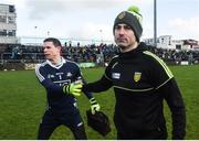 26 February 2017; Donegal manager Rory Gallagher and Dublin captain Stephen Cluxton shake hands following the Allianz Football League Division 1 Round 3 match between Donegal and Dublin at MacCumhaill Park in Ballybofey, Co. Donegal. Photo by Philip Fitzpatrick/Sportsfile
