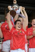 1 August 2011; Cork captain Jess O'Shea lifts the cup. All Ireland Minor A Championship Final, Dublin v Cork, Birr, Co. Offaly. Picture credit: Paul Mohan / SPORTSFILE