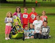 31 July 2011; Cousins at the race, back row, left to right, Liah Walshe, 7 years, from Baloon, Co. Carlow, Sadbh O'Brien, Kilcock, Co. Kildare, Gavin Mitten, 9, Newbridge, Co. Kildare, Rossa O'Brien, 9, Kilcock, and Emma Mitten, 6, Newbridge. Front row, left to right, Lewis Walshe, Ballon, Freddie Walshe, 3, Balloon, Rory Mitten, 3, Newbridge, Conor O'Brien, 12, Kilcock, and Evan O'Brien, 9, from Kilcock, before the Athletics Ireland Family Fitness Festival at Farmleigh. Phoenix Park, Dublin. Picture credit: Ray McManus / SPORTSFILE