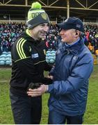 26 February 2017; Donegal manager Rory Gallagher and Dublin manager Jim Gavin shake hands following the Allianz Football League Division 1 Round 3 match between Donegal and Dublin at MacCumhaill Park in Ballybofey, Co. Donegal. Photo by Philip Fitzpatrick/Sportsfile