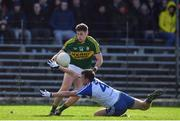 26 February 2017; Paul Geaney of Kerry solos a dummy on Ryan Wylie of Monaghan during the Allianz Football League Division 1 Round 3 match between Kerry and Monaghan at Fitzgerald Stadium in Killarney, Co. Kerry. Photo by Brendan Moran/Sportsfile