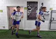 26 February 2017; Conor McManus, left, and Kieran Hughes of Monaghan make their way out for the second half, past photos of former Kerry players Tom Long and Mick O'Connell, during the Allianz Football League Division 1 Round 3 match between Kerry and Monaghan at Fitzgerald Stadium in Killarney, Co. Kerry. Photo by Brendan Moran/Sportsfile