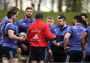 27 February 2017; Munster technical coach Felix Jones speaks to his players during squad training at the University of Limerick in Limerick. Photo by Diarmuid Greene/Sportsfile