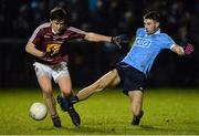 1 March 2017; Shane Clayton of Dublin in action against Darren Giles of Westmeath during the EirGrid Leinster GAA Football Under 21 Championship Quarter-Final match between Westmeath and Dublin at Lakepoint in Mullingar, Co Westmeath. Photo by Piaras Ó Mídheach/Sportsfile