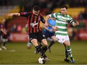 3 March 2017; Robert Cornwall of Bohemians in action against Ronan Finn of Shamrock Rovers during the SSE Airtricity League Premier Division match between Shamrock Rovers and Bohemians at Tallaght Stadium in Dublin. Photo by Seb Daly/Sportsfile
