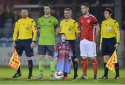 3 March 2017; Drogheda United mascot Bobby Brennan, son of Drogheda United player Gavin Brennan, with team captains Luke Gallagher of Drogheda United and Ian Bermingham of St Patrick's Athletic and match officials, from left, Brian Fenlon, Sean Grant, referee, and Michelle O'Neill before the SSE Airtricity League Premier Division match between Drogheda United and St Patrick's Athletic at United Park in Drogheda, Co. Louth. Photo by Piaras Ó Mídheach/Sportsfile
