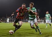 3 March 2017; Derek Pender of Bohemians in action against Ronan Finn of Shamrock Rovers during the SSE Airtricity League Premier Division match between Shamrock Rovers and Bohemians at Tallaght Stadium in Dublin. Photo by Seb Daly/Sportsfile