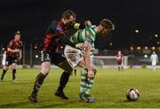 3 March 2017; Ronan Finn of Shamrock Rovers in action against Derek Pender of Bohemians during the SSE Airtricity League Premier Division match between Shamrock Rovers and Bohemians at Tallaght Stadium in Dublin. Photo by Seb Daly/Sportsfile
