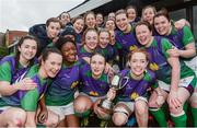 4 March 2017; CYM players celebrate with the cup after winning the Leinster Women's League Division 2 Playoffs match between Tullow and CYM at Donnybrook Stadium in Donnybrook, Dublin. Photo by Eóin Noonan/Sportsfile