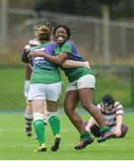 4 March 2017; Promise Chapwanya of CYM, right, celebrates with team mate Monica Beresford following the Leinster Women's League Division 2 Playoffs match between Tullow and CYM at Donnybrook Stadium in Donnybrook, Dublin. Photo by Eóin Noonan/Sportsfile