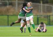 4 March 2017; Monica Beresford, right, of CYM celebrates with team mate Promise Chapwanya following the Leinster Women's League Division 2 Playoffs match between Tullow and CYM at Donnybrook Stadium in Donnybrook, Dublin. Photo by Eóin Noonan/Sportsfile