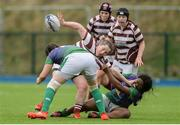 4 March 2017; Margaret Kelly of Tullow is tackled by Hannah O'Connor, left, and Promise Chapwanya, right, of CYM during the Leinster Women's League Division 2 Playoffs match between Tullow and CYM at Donnybrook Stadium in Donnybrook, Dublin. Photo by Eóin Noonan/Sportsfile