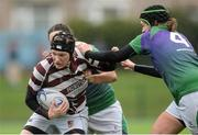 4 March 2017; Nicola Caldbeck of Tullow is tackled by Hannah O'Connor, left, and Aishling Doherty, right, of CYM during the Leinster Women's League Division 2 Playoffs match between Tullow and CYM at Donnybrook Stadium in Donnybrook, Dublin. Photo by Eóin Noonan/Sportsfile