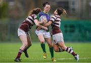 4 March 2017; Brenda Healy of CYM is tackled by Chloe Farrell, left, and Katie O'Brien, right, of Tullow during the Leinster Women's League Division 2 Playoffs match between Tullow and CYM at Donnybrook Stadium in Donnybrook, Dublin. Photo by Eóin Noonan/Sportsfile