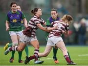 4 March 2017; Siobhan Leahy of CYM is tackled by Katie O'Brien, left and Chloe Farrell, right, of Tullow during the Leinster Women's League Division 2 Playoffs match between Tullow and CYM at Donnybrook Stadium in Donnybrook, Dublin. Photo by Eóin Noonan/Sportsfile