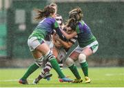 4 March 2017; Katie O'Brien of Tullow is tackled by Rachel Horan, left, and Monica Beresfrord, right, of CYM during the Leinster Women's League Division 2 Playoffs match between Tullow and CYM at Donnybrook Stadium in Donnybrook, Dublin. Photo by Eóin Noonan/Sportsfile