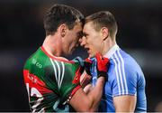 4 March 2017; Diarmuid O'Connor of Mayo and John Small of Dublin get close during the Allianz Football League Division 1 Round 4 match between Dublin and Mayo at Croke Park in Dublin. Photo by Brendan Moran/Sportsfile