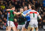 4 March 2017; Lee Keegan of Mayo tussles with Dean Rock of Dublin during the Allianz Football League Division 1 Round 4 match between Dublin and Mayo at Croke Park in Dublin. Photo by David Fitzgerald/Sportsfile