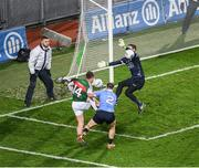 4 March 2017; Dublin goalkeeper Stephen Cluxton, supported by Philip McMahon, saves a shot from Cillian O'Connor of Mayo during the Allianz Football League Division 1 Round 4 match between Dublin and Mayo at Croke Park in Dublin. Photo by Ray McManus/Sportsfile