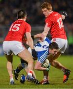 4 March 2017; Ryan Wylie of Monaghan in action against Ronan O'Neill, left, and Peter Harte of Tyrone during the Allianz Football League Division 1 Round 4 match between Tyrone and Monaghan at Healy Park in Omagh, Co Tyrone. Photo by Oliver McVeigh/Sportsfile