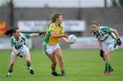 6 August 2011; Ciara Hegarty, Donegal, in action against Sarah Houlihan,13, and Maria Quirke, Kerry. TG4 Ladies Football All-Ireland Senior Championship Round 2 Qualifier, Donegal v Kerry, St Brendan's Park, Birr, Co. Offaly. Picture credit: Matt Browne / SPORTSFILE