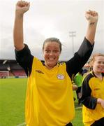 7 August 2011; Noelle Murray, St Catherine's LFC, Dublin, celebrates after the game. FAI Umbro Women's Senior Challenge Cup Final 2011, Wilton United, Cork v St Catherine's LFC, Dublin, Turners Cross, Cork. Picture credit: Paul Mohan / SPORTSFILE