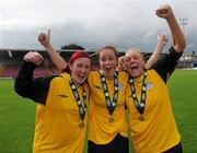 7 August 2011; Melissa Haughton, left, Wendy McGrath and Dionne Lyons, right, St Catherine's LFC, Dublin, celebrate after the game. FAI Umbro Women's Senior Challenge Cup Final 2011, Wilton United, Cork v St Catherine's LFC, Dublin, Turners Cross, Cork. Picture credit: Paul Mohan / SPORTSFILE
