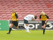 7 August 2011; Noelle Murray, left, St Catherine's LFC, Dublin, runs to celebrate after scoring her side's 2nd goal. FAI Umbro Women's Senior Challenge Cup Final 2011, Wilton United, Cork v St Catherine's LFC, Dublin, Turners Cross, Cork. Picture credit: Paul Mohan / SPORTSFILE