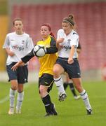 7 August 2011; Melissa Haughton, St Catherine's LFC, Dublin, in action against Catherine Cooke, Wilton United, Cork. FAI Umbro Women's Senior Challenge Cup Final 2011, Wilton United, Cork v St Catherine's LFC, Dublin, Turners Cross, Cork. Picture credit: Paul Mohan / SPORTSFILE