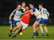 4 March 2017; Ronan O'Neill of Tyrone in action against Gavin Doogan and Ryan Wylie of Monaghan during the Allianz Football League Division 1 Round 4 match between Tyrone and Monaghan at Healy Park in Omagh, Co Tyrone. Photo by Oliver McVeigh/Sportsfile